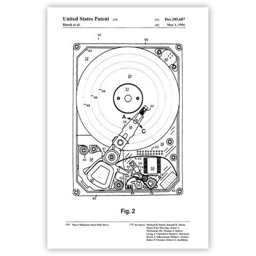 Mini Hard Disk Patent Poster Print