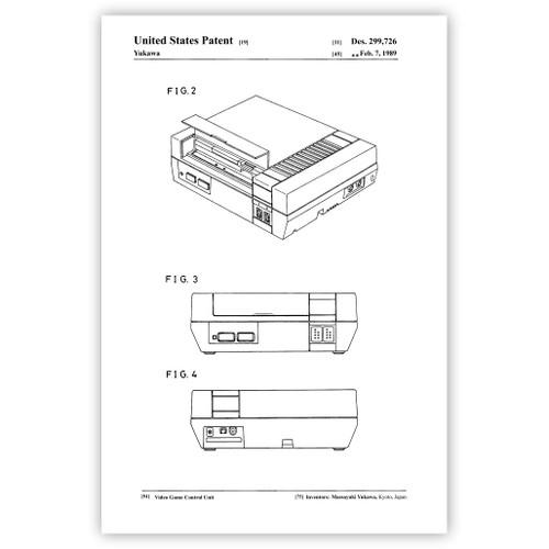 8bit Video Game Control Unit Patent Poster Print