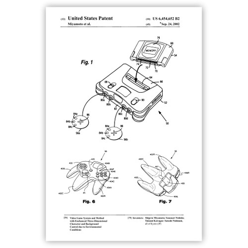 64bit Video Game System and Controller Patent Poster Print