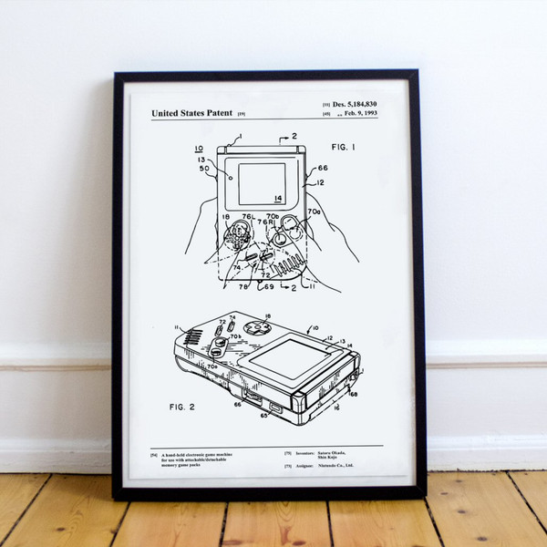 Handheld Video Game Console Patent Poster Print