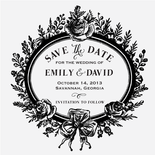 """Floral Frame"" Save the Date Stamp"