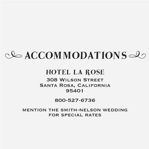 """Floral Banner"" Accommodations Card Stamp"