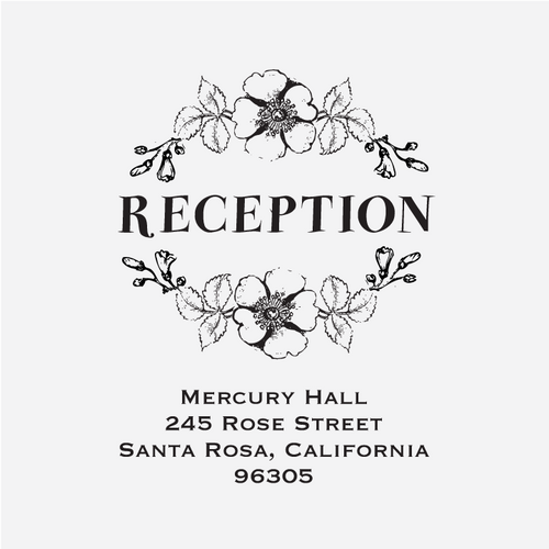 """Floral Banner"" Reception Card Stamp"