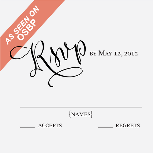 """""""Calligraphy Accent"""" Reply Card Stamp"""