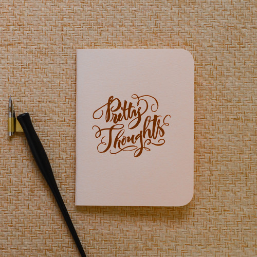 """""""Pretty Thoughts"""" Gold Foil Notebook, Blush Pink"""