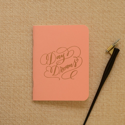 """""""Daydreams"""" Gold Foil Notebook, Coral"""