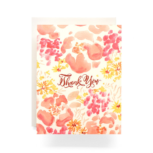 Coral Watercolor Poppies Thank You Greeting Card
