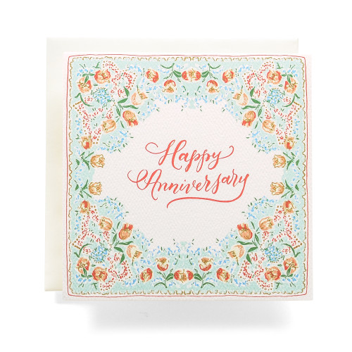 Handkerchief Happy Anniversary Greeting Card,  Mint