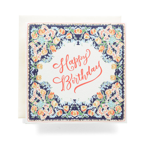 Handkerchief Happy Birthday Greeting Card, Navy