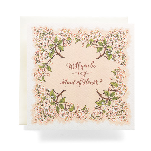 """Handkerchief """"Will you be my Maid of Honor"""" Greeting Card, Blush"""