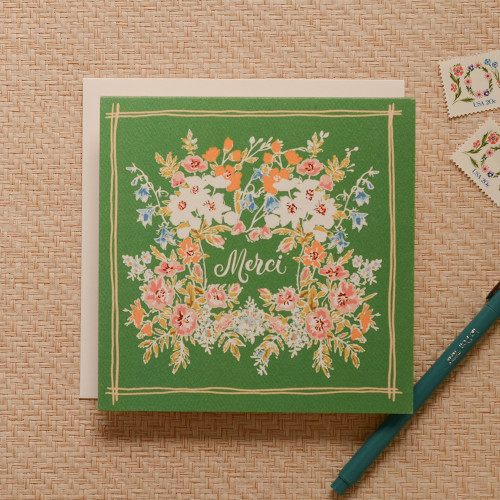 Handkerchief Merci Greeting Card, Jade