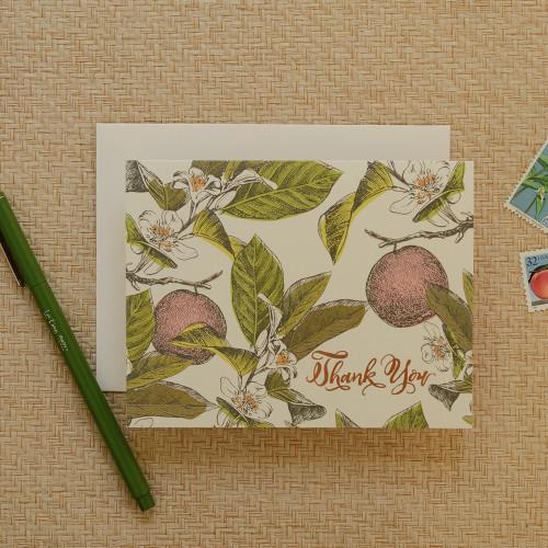 Orange Blossom Thank You Greeting Card
