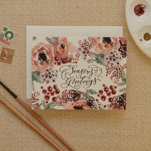 Winter Botanical Seasons Greetings Holiday Card