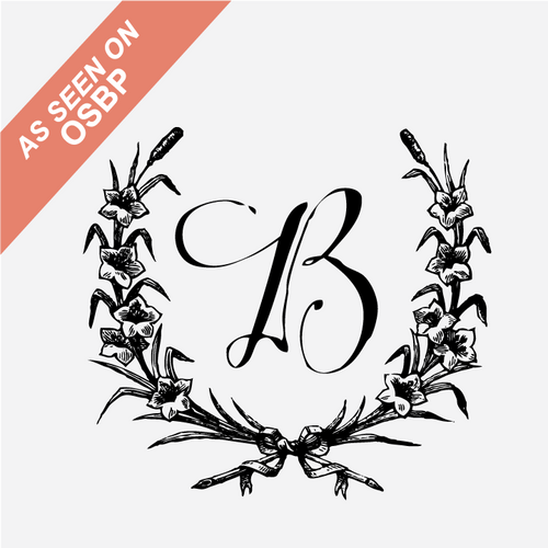 """Wreath"" Calligraphy Initial Monogram Stamp"