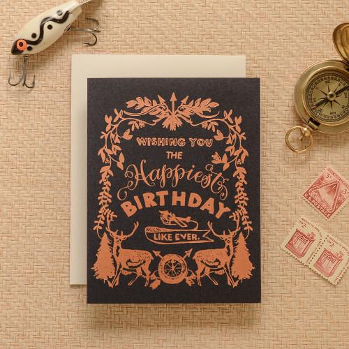 Happy Birthday Deer Crest Greeting Card