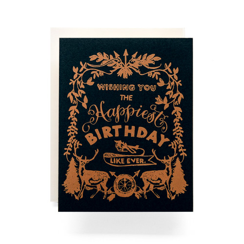 Happy Birthday Deer Crest Greeting Card