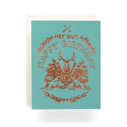Happy Birthday Hunting Crest Greeting Card, aqua