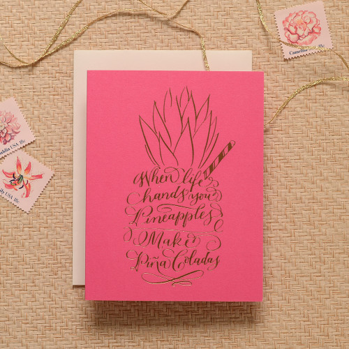 Calligraphy Pina Colada Pineapple Greeting Card, Pink & Copper