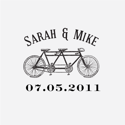 """Bicycle"" Wedding Date Monogram Stamp"