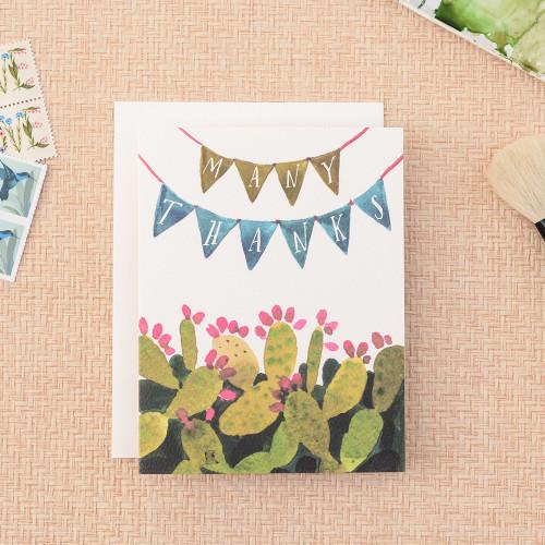 Cactus Pennant Thanks Greeting Card