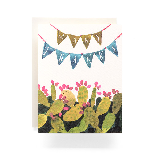 Cactus Pennant Thanks Greeting Card