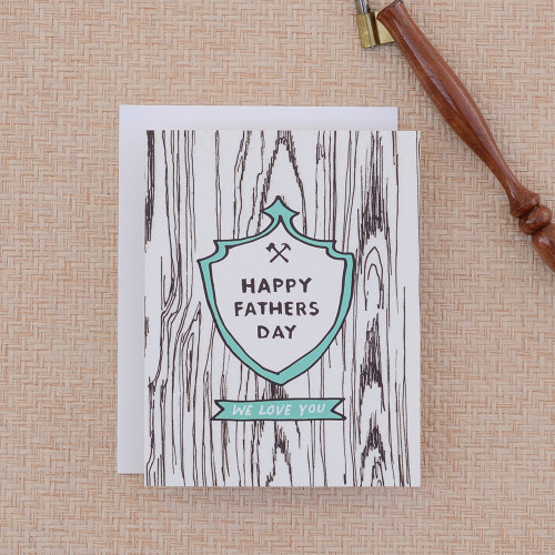 Carved Crest Fathers Day Greeting Card