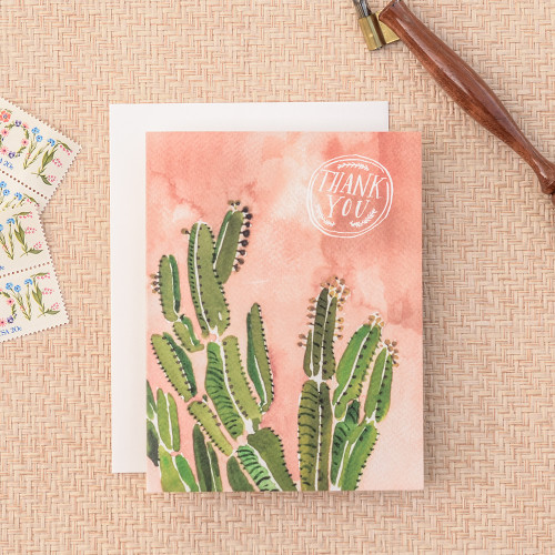 Coral Cactus Thank You Greeting Card