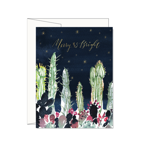 Cactus Garden Merry & Bright Greeting Card