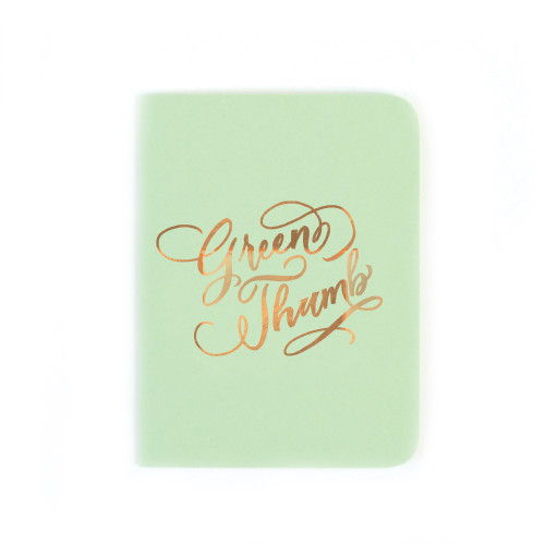 """Green Thumb"" Gold Foil Notebook, Mint Green"