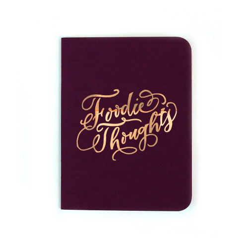 """Foodie Thoughts"" Gold Foil Notebook, Deep Eggplant"