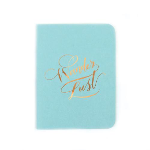"""""""Wander Lust"""" Gold Foil Notebook, Pool Blue"""