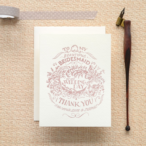 For my Bridesmaid, Wedding Day Crest Greeting Card