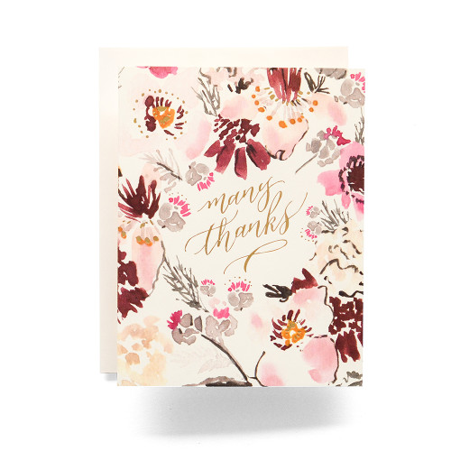 Floral Many Thanks Greeting Card
