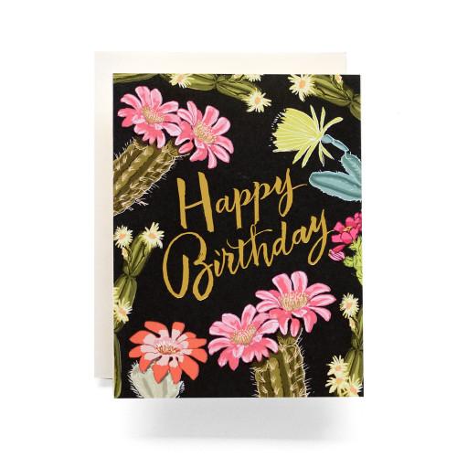 Cactus Blooms Birthday Greeting Card