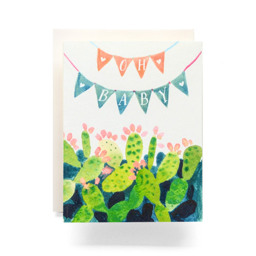 Cactus Pennant Oh Baby Greeting Card