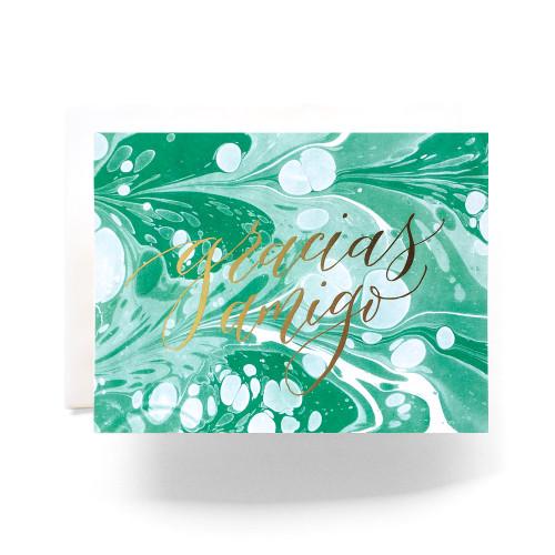 Marble Gracias Amigo Greeting Card