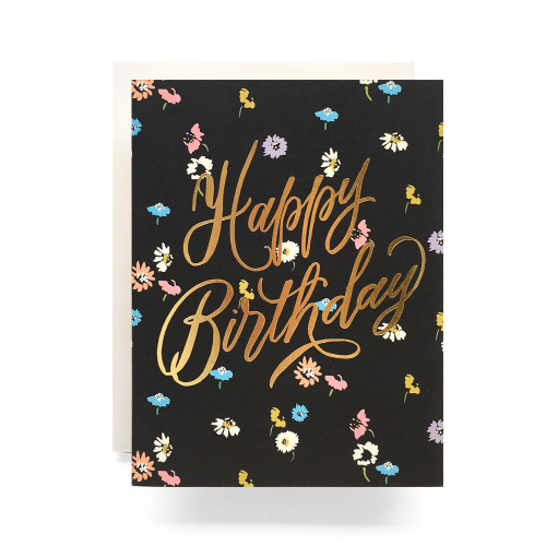 Disty Floral Birthday Greeting Card