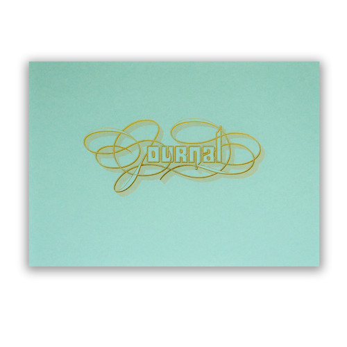 Gold Foil Calligraphy Practice Journal, Aqua