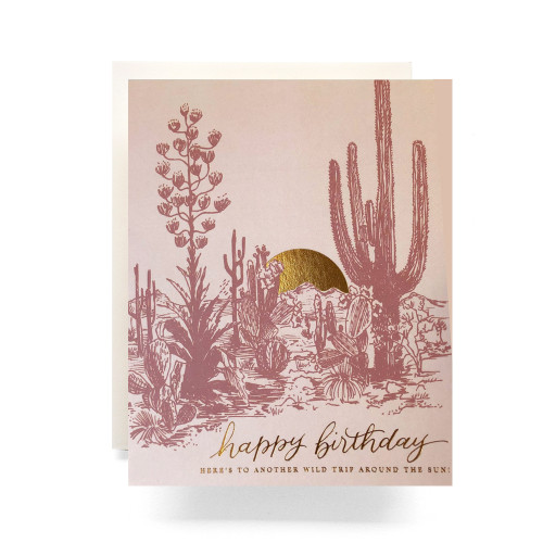 Cactus Sunset Birthday Greeting Card