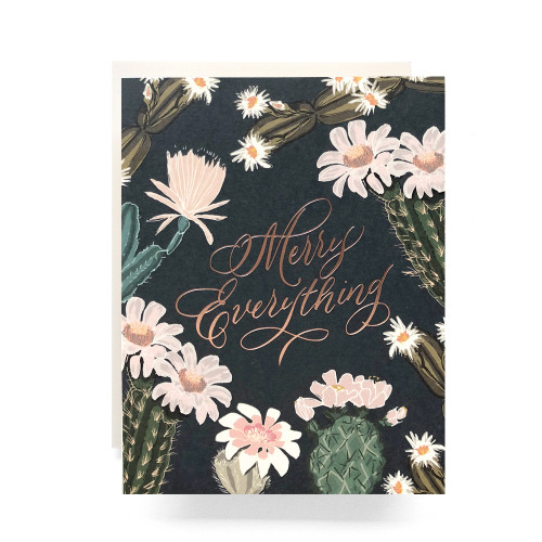 Cactus  Blooms Merry Everything Greeting Card
