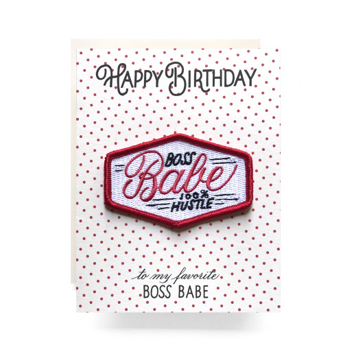 Patch Greeting Card   Boss Babe Birthday