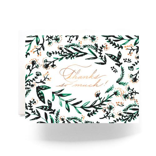 Emerald Wreath Thank You Greeting Card