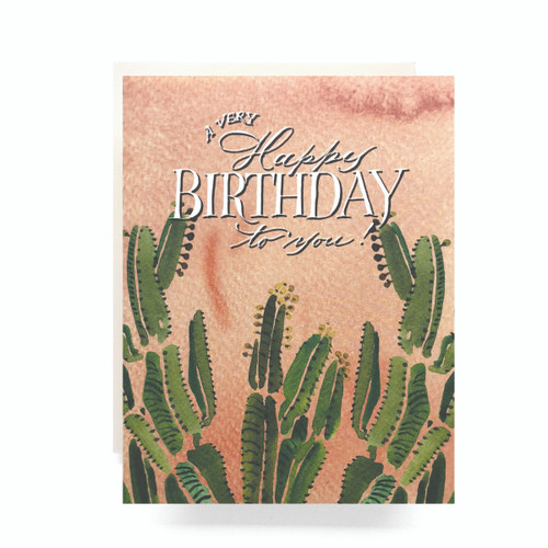 Coral Cactus Birthday Greeting Card