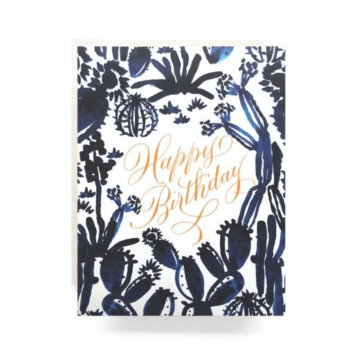 Indigo Cactus Birthday Greeting Card