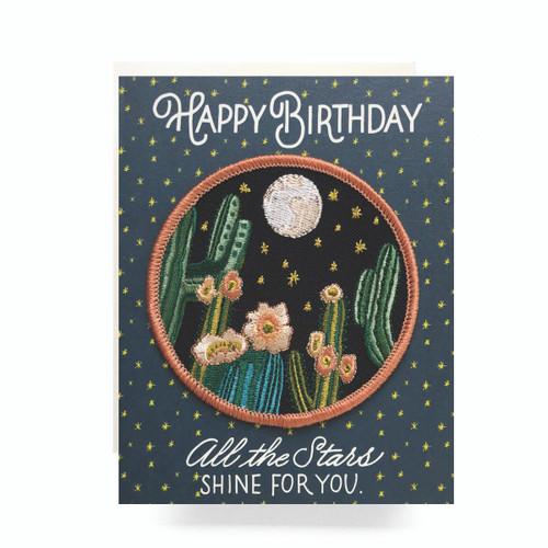 Patch Greeting Card | Night Cactus Birthday