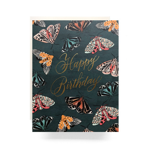 Emerald Moth Birthday Greeting Card