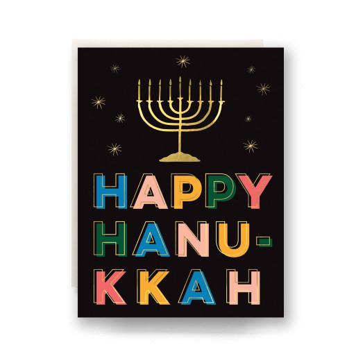 Lights Happy Hanukkah Greeting Card