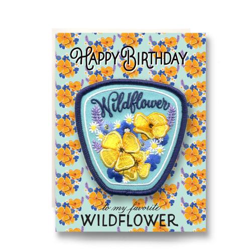 Patch Greeting Card   Wildflower Birthday