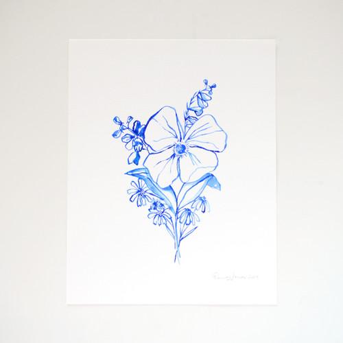 """Blue Wildflower Nosegay Original Watercolor, 11""""x14"""""""