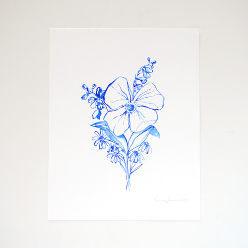 "Blue Wildflower Nosegay Original Watercolor, 11""x14"""